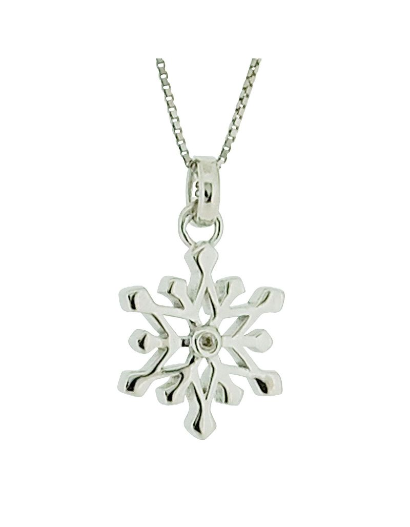 """D For Diamond"" Sterling Silver Genuine Diamond Snowflake Pendant on 14"" Chain"