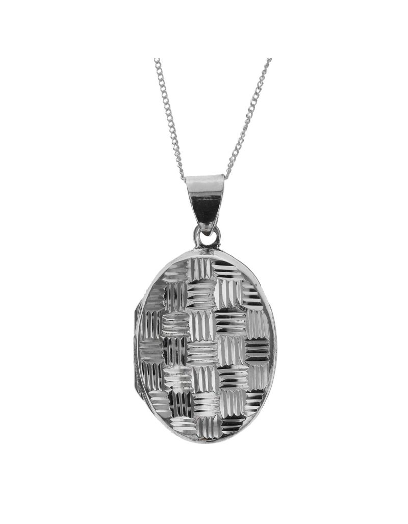 """The Olivia Collection Sterling Silver 25mm Cross-Hatched  Design Oval Locket on 18"""" Chain"""
