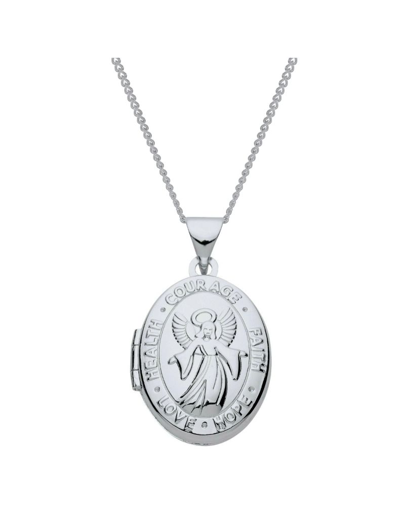 """The Olivia Collection Sterling Silver Ladies/Girls 18mm Angel Heart Locket Necklace Space For 2 Small Pictures on an 18"""" Sterling Silver Chain CL5014"""