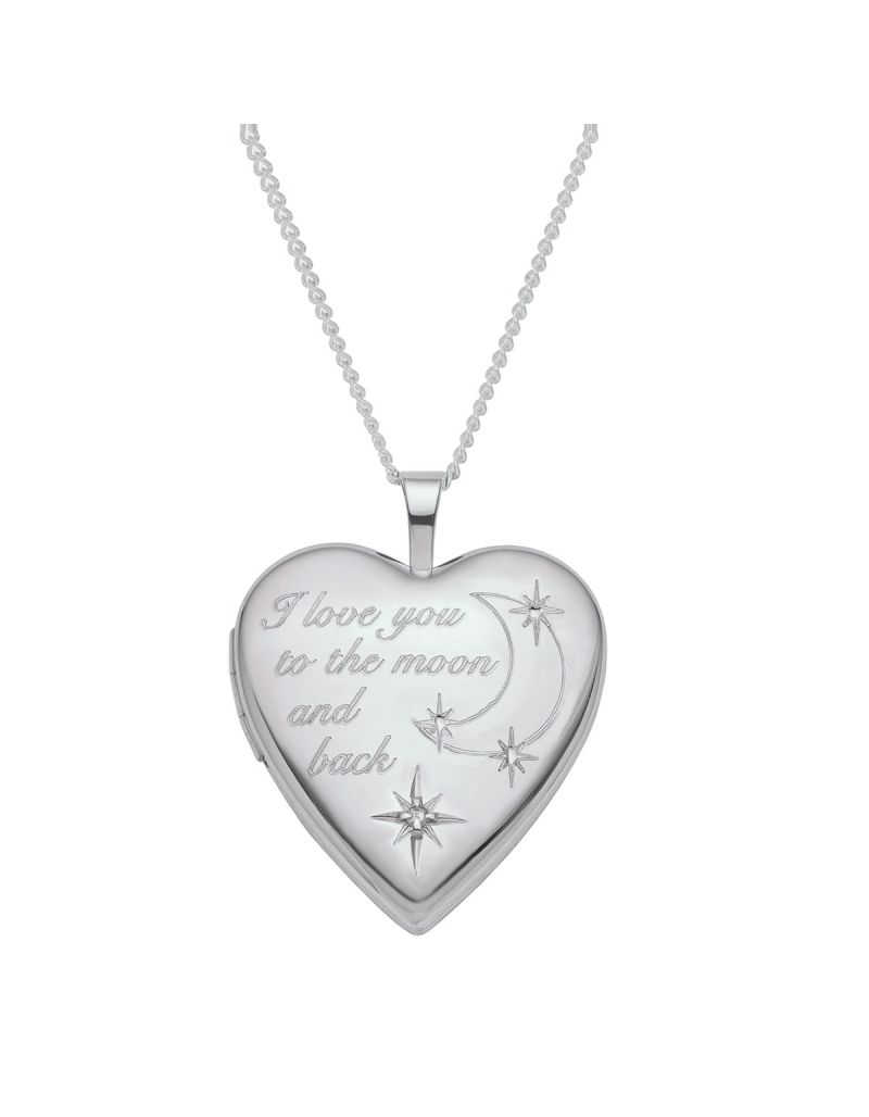 """The Olivia Collection Sterling Silver Ladies/Girls 20mm Heart Message Locket Necklace Space For 2 Small Pictures on an 18"""" Sterling Silver Chain Message """"I Love You To The Moon & Back"""" CL5015"""