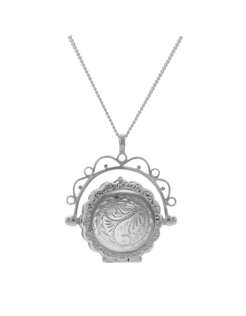 """The Olivia Collection Sterling Silver Ladies 30mm Round Fancy Engraved Spinner Locket Necklace Space For 2 Small Pictures on an 18"""" Sterling Silver Chain CL5016"""