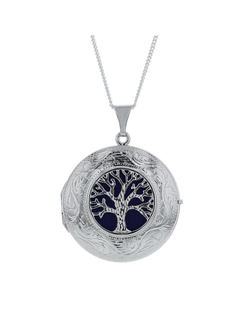 """The Olivia Collection Sterling Silver Ladies 30mm Round Tree Of Life Locket Necklace Space For 2 Pictures on an 18"""" Sterling Silver Chain CL5017"""