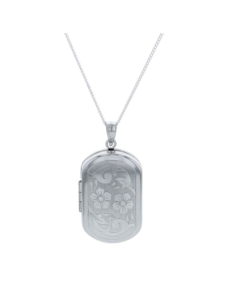"""The Olivia Collection Sterling Silver Ladies 30mm Rectangular Flower Design Locket Necklace Space For 2 Pictures on an 18"""" Sterling Silver Chain CL5018"""