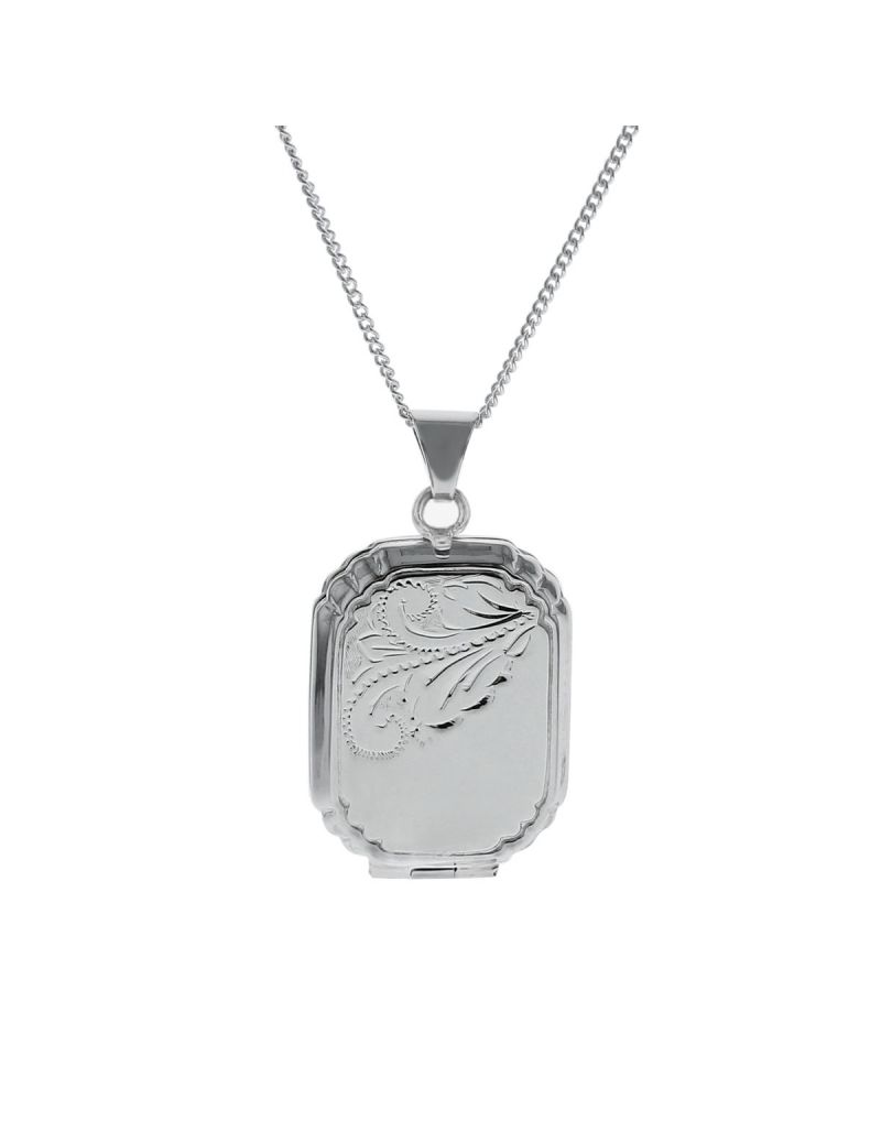 """The Olivia Collection Sterling Silver Ladies 25mm Octagonal Half Engraved Locket Necklace Space For 2 Pictures on an 18"""" Sterling Silver Chain CL5019"""