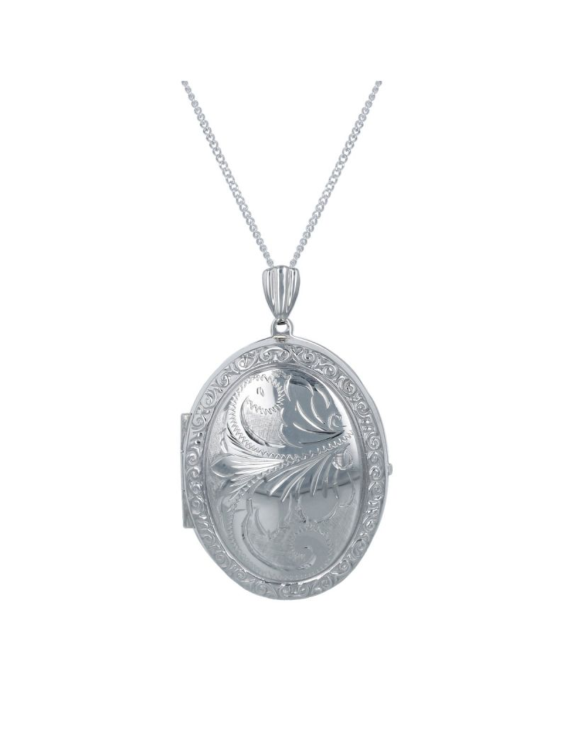 """The Olivia Collection Sterling Silver Ladies Large 35mm Oval Engraved Locket Necklace Space For 2 Pictures on an 18"""" Sterling Silver Chain CL5020"""