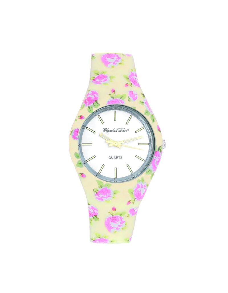 ELizabeth Rose Summer Pink & Green Roses Retro Design Ladies Casual Silicone Strap Watch ELZ01D
