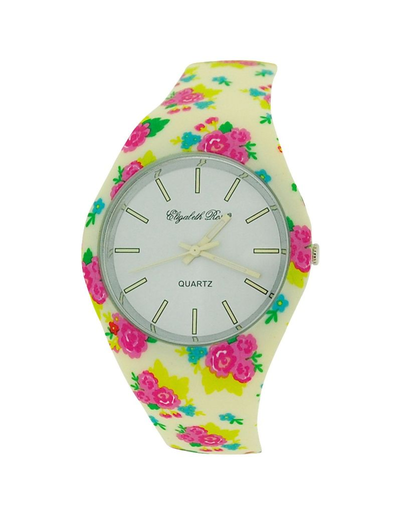 ELizabeth Rose Summer Pink & Green Floral Retro Design Ladies Silicone Strap Casual Watch ELZ02D