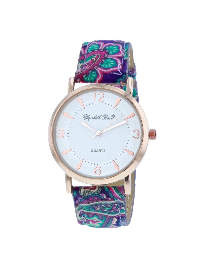 Elizabeth Rose Ladies Analogue Paisley Print Strap White Dial Watch ELZ21C