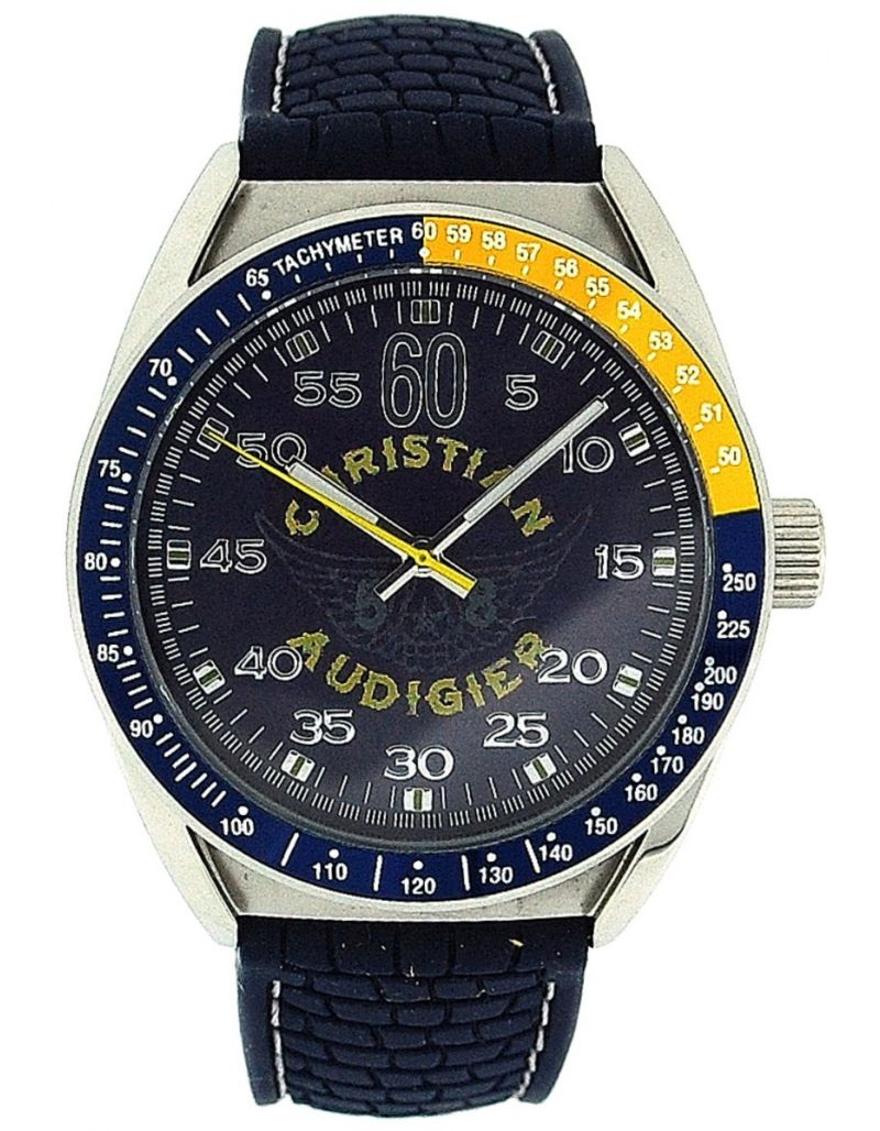 Christian Audigier Gents Aero Blue Rubber Strap Water Resistant Watch ETE-121