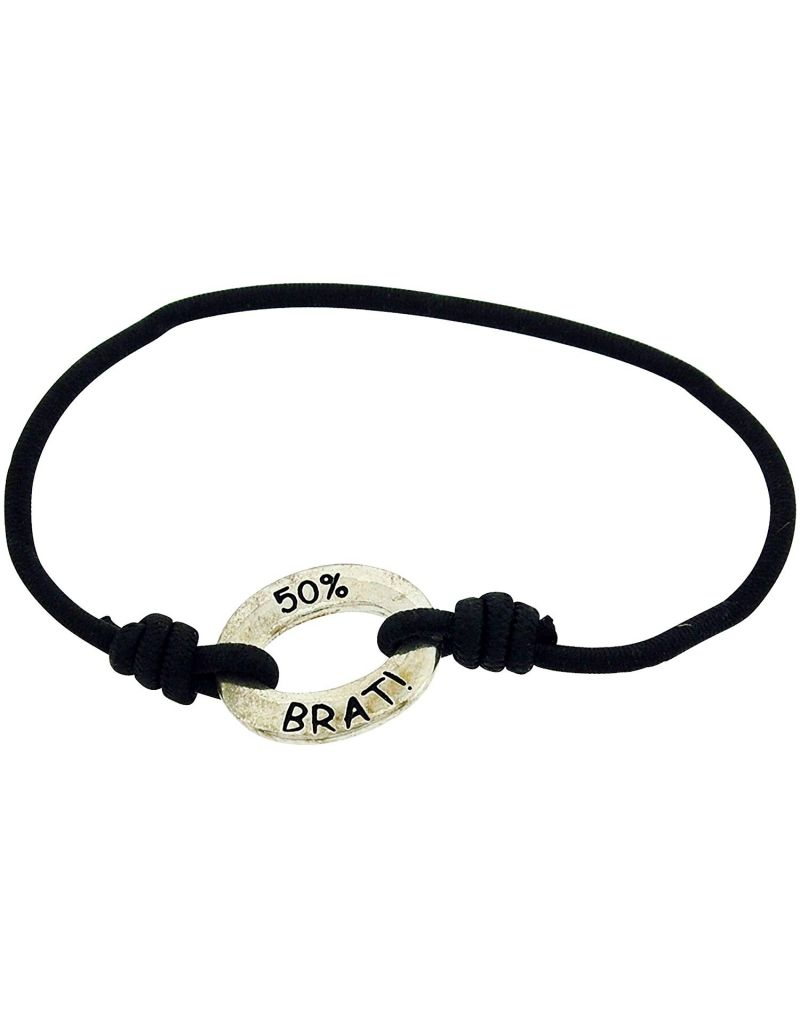 "Toc Bandz "" 50% Brat 50% Princess"" Black 6 Inch Stretch Bracelet"