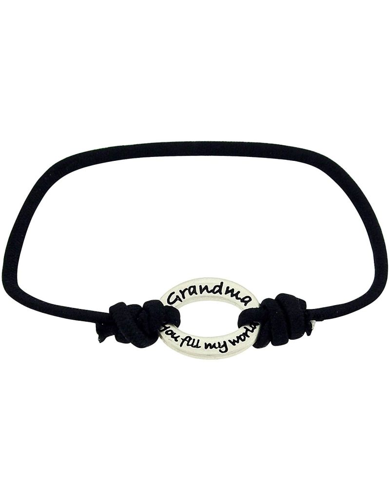 "TOC Bandz ""Grandma You Fill My World With Joy And Love' Black Stretch Bracelet"