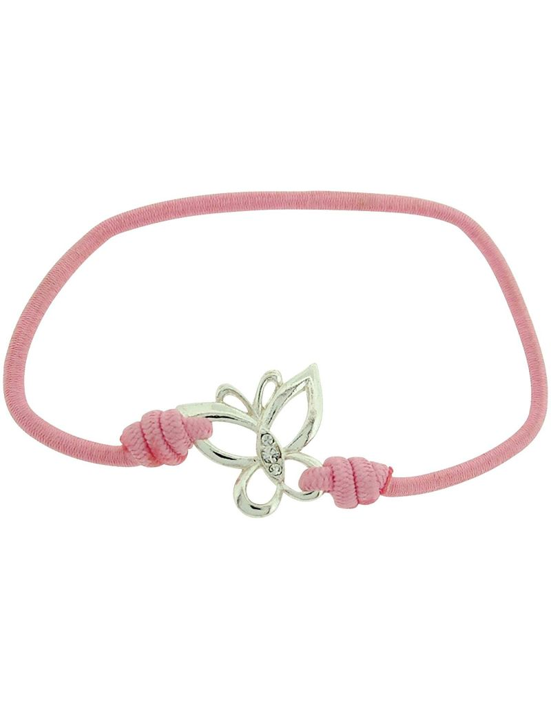 TOC Bandz Glass Set Butterfly Love Pink Stretch Bracelet 6""
