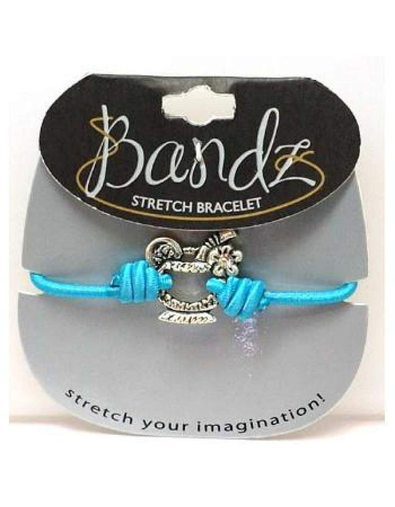 TOC Bandz Acrylic Set Cocktail Charm Blue Elasticated Bracelet 6""