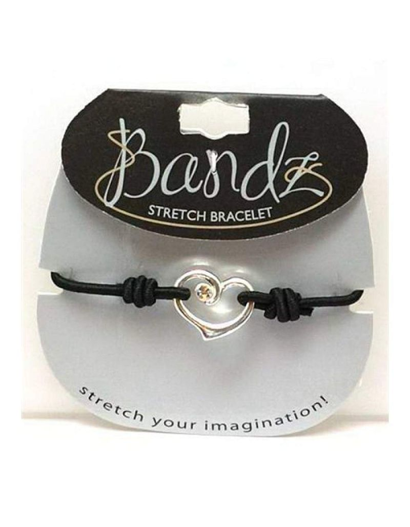 TOC Bandz Glass Set Black Heart Elasticated Bracelet 6""