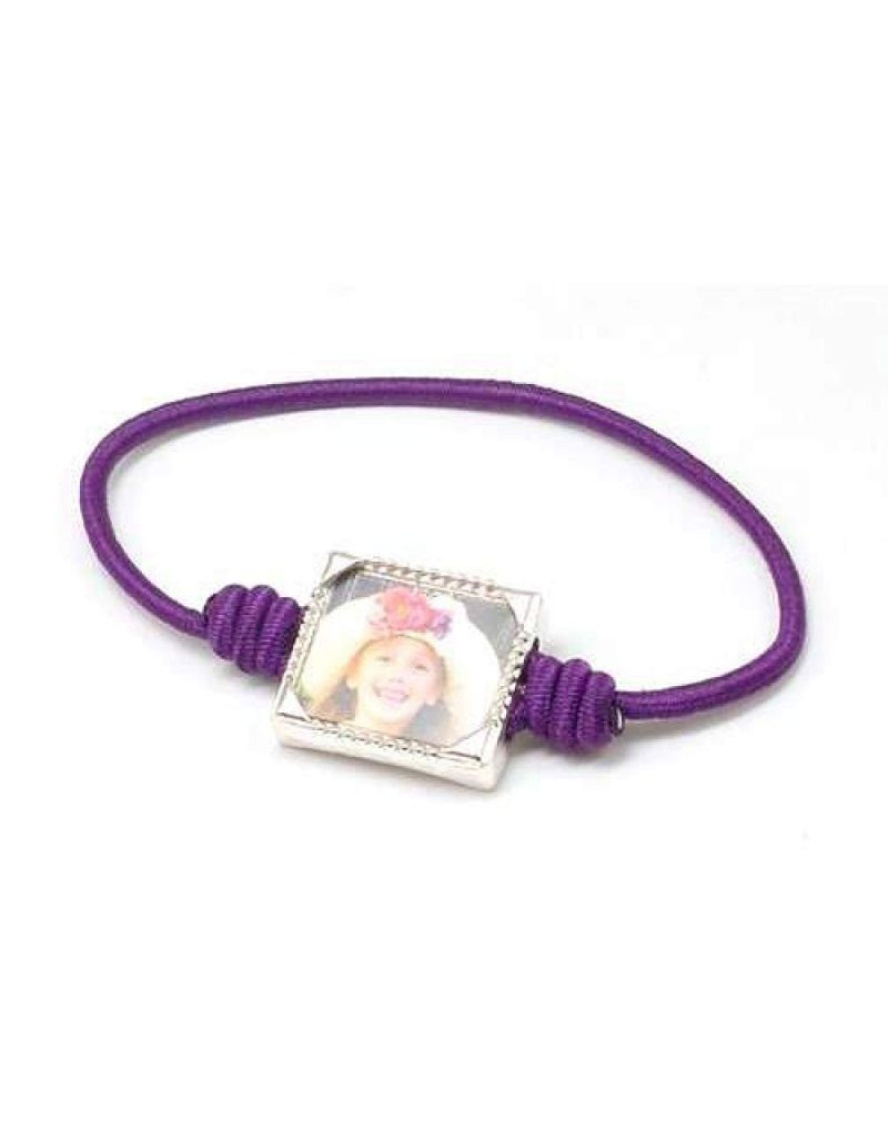 Bandz Children Girls Purple Photo Frame Elastic Stretch Bracelet