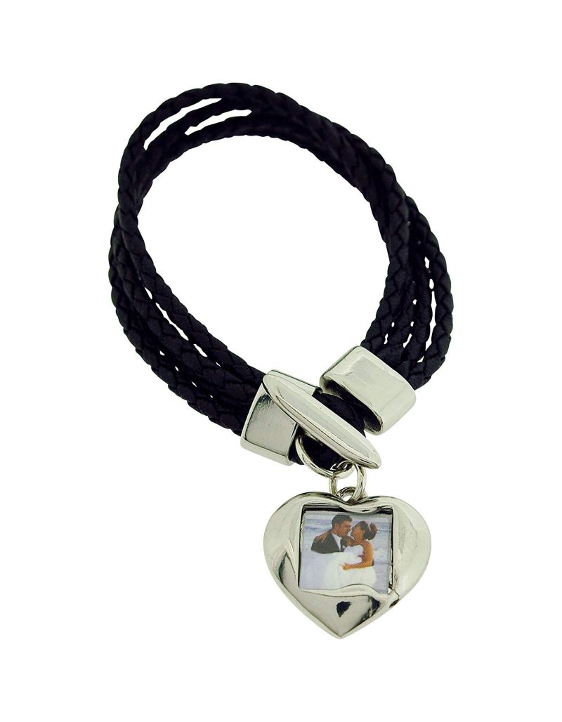 Bandz Womens Black Cord With Reversible Heart Photo Charm Toggle Bracelet