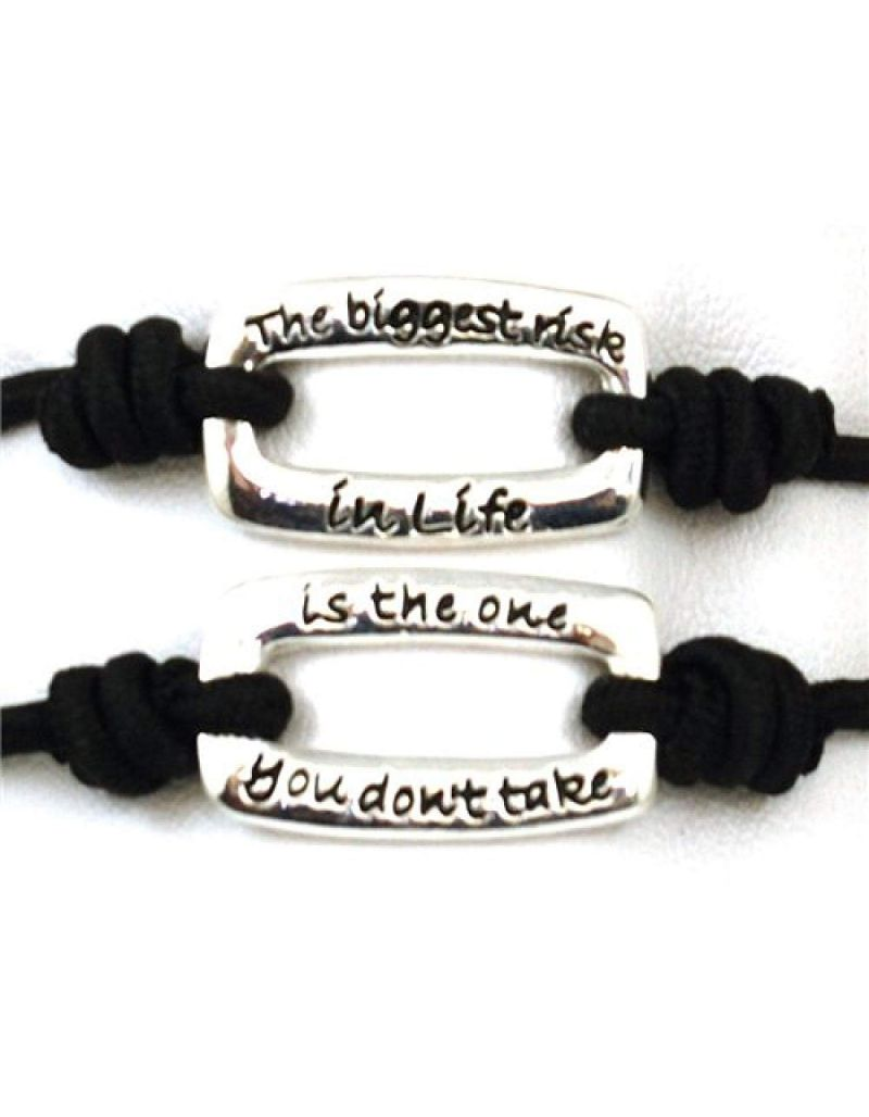 "TOC Bandz Black The Biggest Risk...Is The One You Don't Take 6"" Stretch Bracelet"