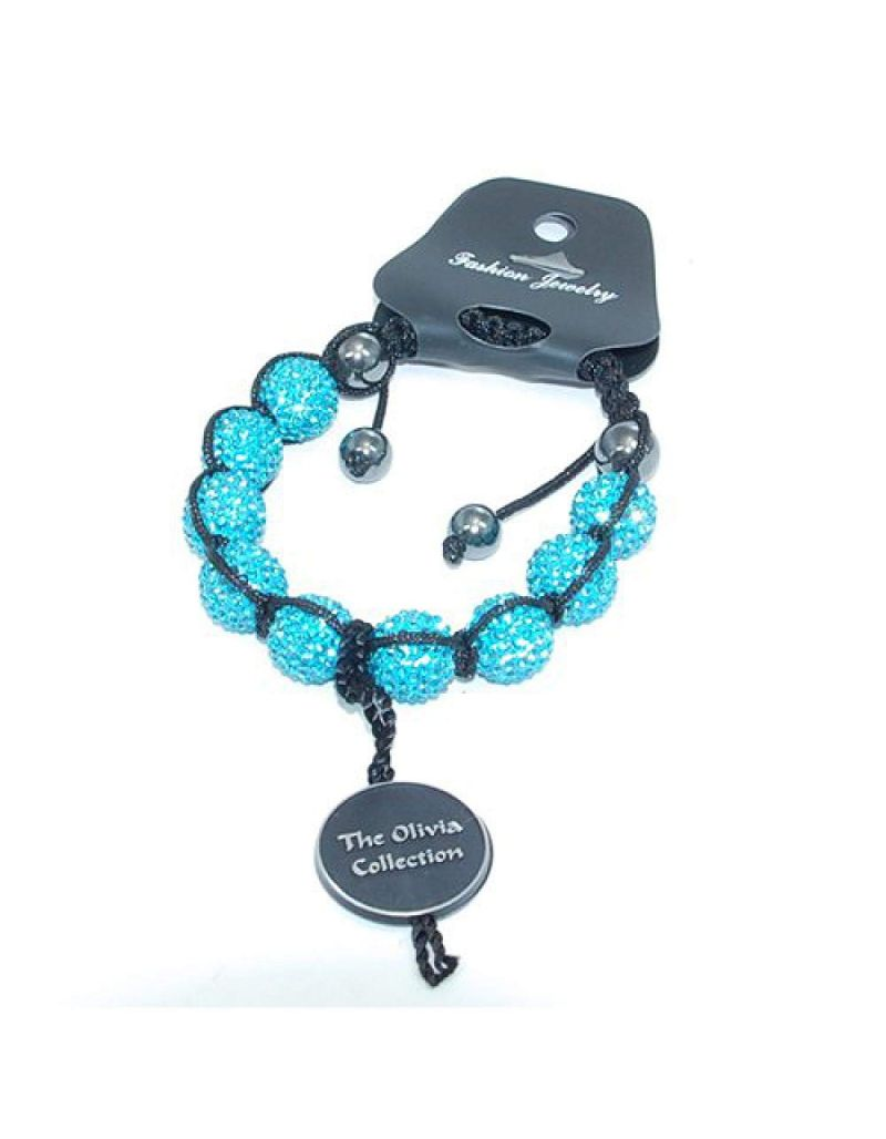 Light Blue Rhinestone Disco Ball Adjustable Bracelet by The Olivia Collection