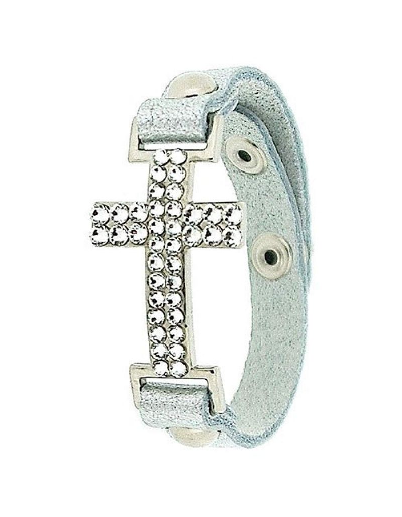 Jimmy Crystal Silvertone Cross & Elements Made With Swarovski Crystals On Grey Leather Bracelet