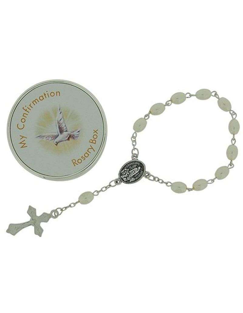 "Juliana Girls 'My Confirmation' Simulated Pearl Rosary Bracelet 6"" FJ1330  CG1074CON"