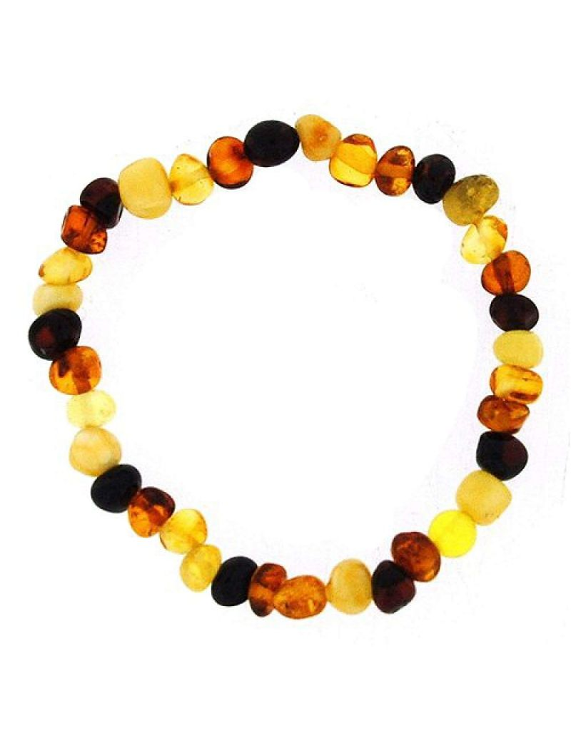 The Olivia Collection Genuine Baltic 4 Colour Amber 7 Inch Bracelet