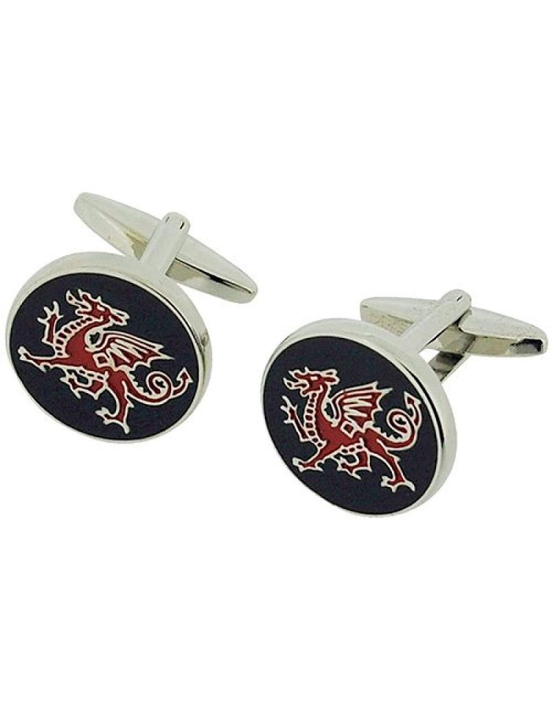 Artamis Rhodium Plated Black & Red Round Dragon Cufflinks In Presentation Box