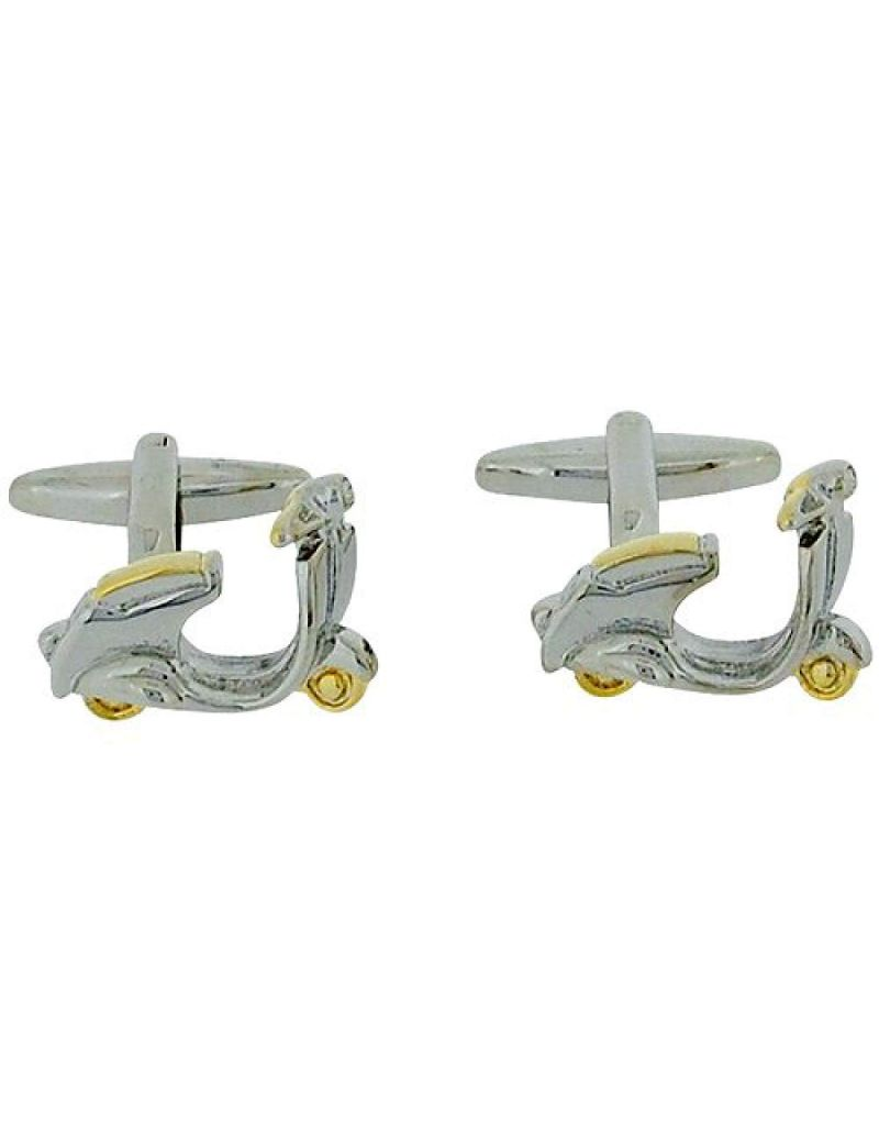 Artamis Gents Brass Rhodium Plated Scooter Cufflinks In Presentation Box