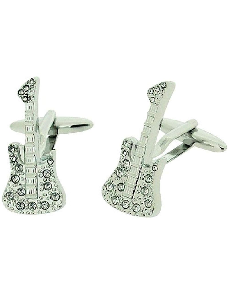 Harvey Makin Gents Silvertone Rhodium Plated Glass Set Guitar Cufflinks Gift Box  HM290a