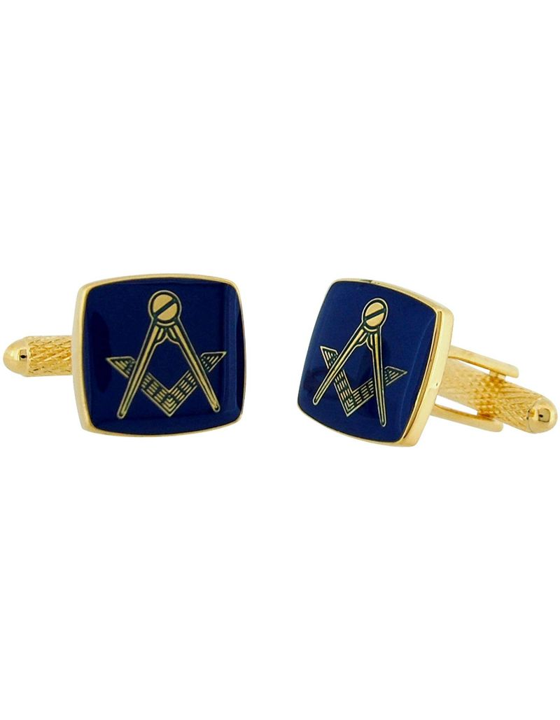 "Bouverat 1919 By Bernex Gents Goldtone & Blue ""Masonic Freemasonry"" Oblong Cufflinks"
