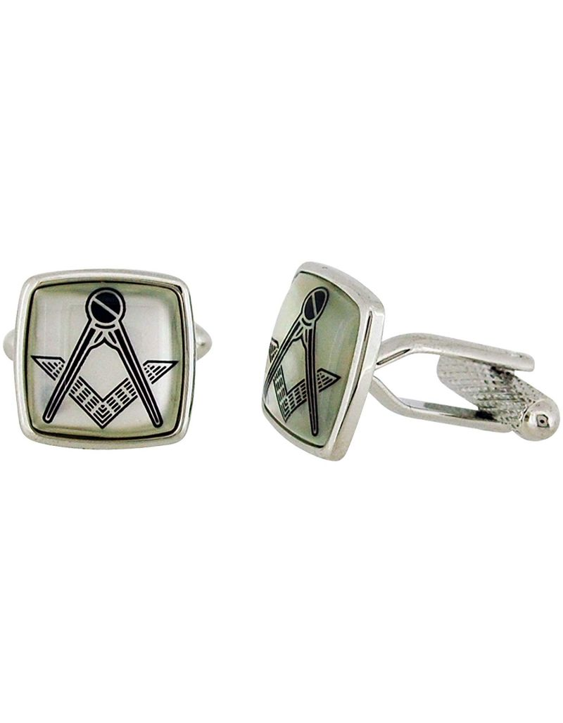 "Bouverat 1919 By Bernex Gents Silvertone & MOP ""Masonic Freemasonry"" Square Cufflinks"