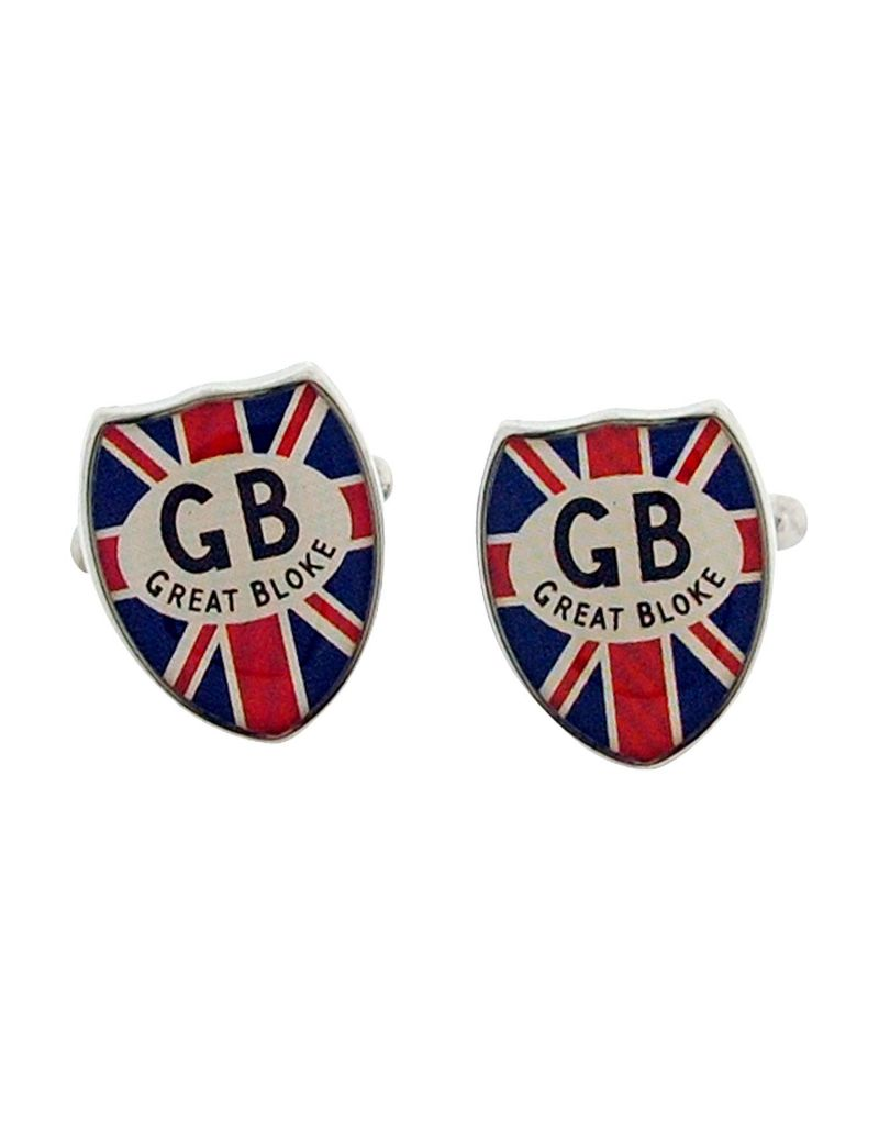 "Harvey Makin Gents Silvertone Metal Union Jack ""Great Bloke"" Shield Cufflinks  HM774"