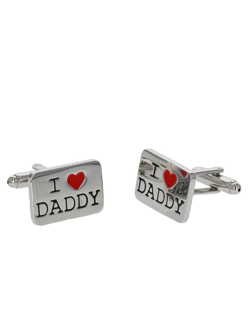 "Harvey Makin Gents Rhodium Plated ""I Heart Daddy"" Cufflinks In Gift Box  HM1108"