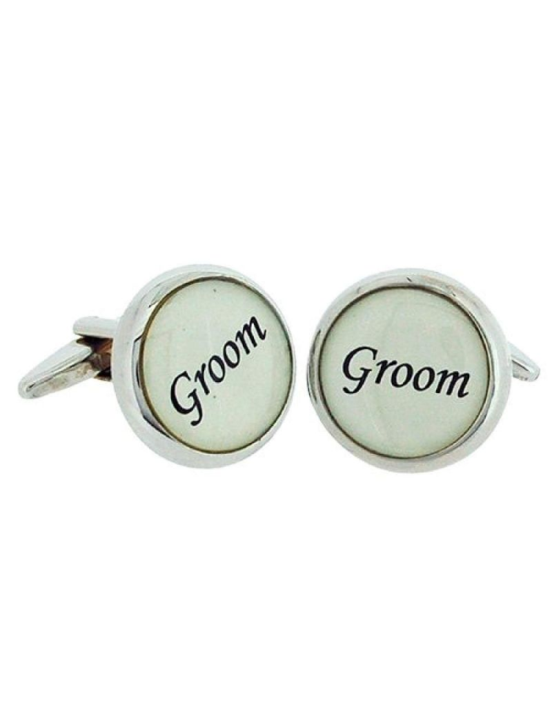 "Artamis Gents Rhodium Plated ""Groom"" Cufflinks In Presentation Box"
