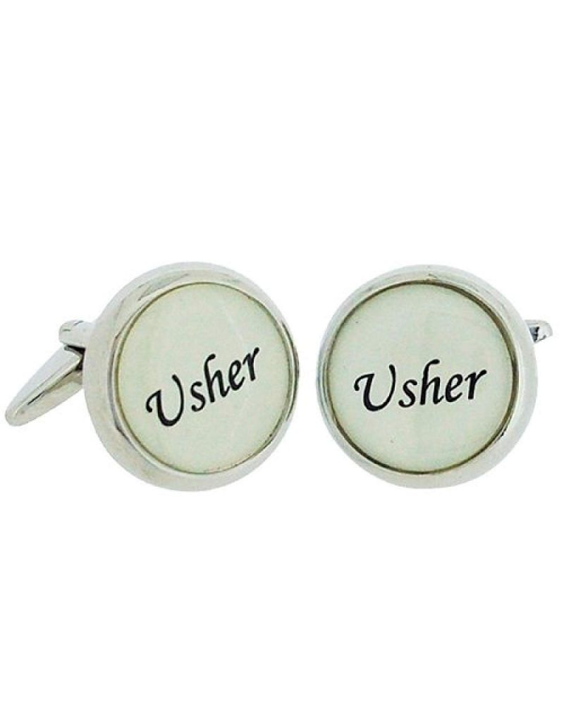 "Artamis Gents Rhodium Plated Round ""Usher"" Cufflinks In Presentation Box"