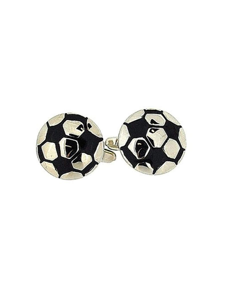 "Artamis Gents Rhodium Plated ""Football"" Cufflinks In Presentation Box"