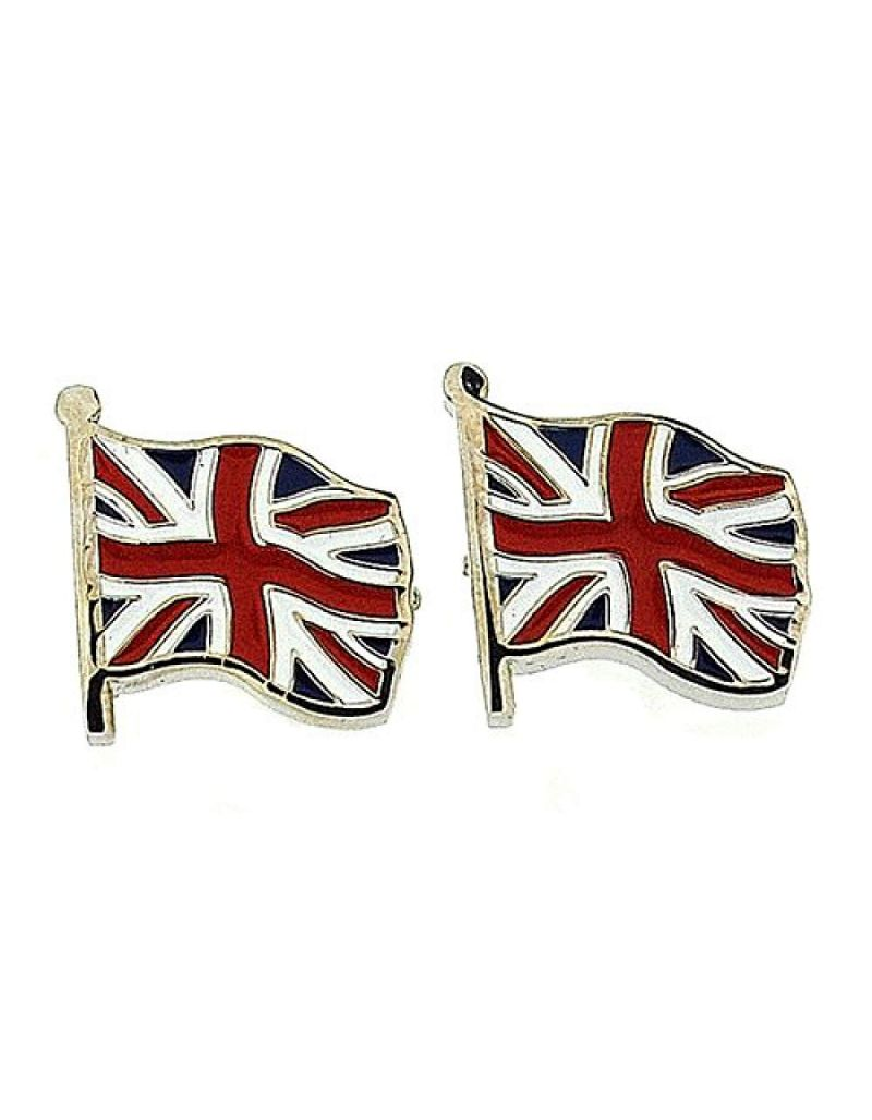 "Artamis Gents Rhodium Plated & Enamel ""Union Jack Flag"" Cufflinks"