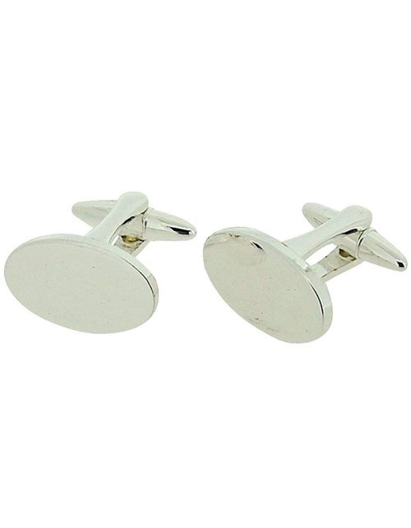 Stratton Gents Rhodium Plated Oval Polished Cufflinks In Branded Box
