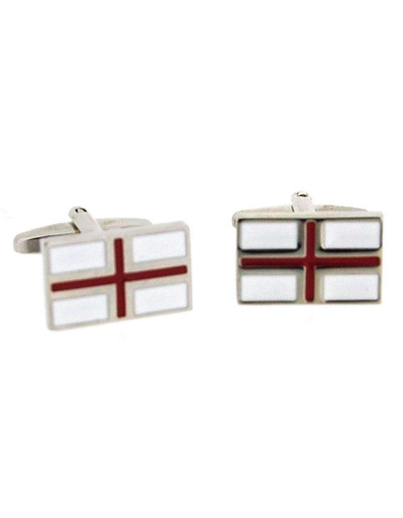 "Artamis Rhodium Plated ""St George Flag"" Cufflinks In Presentation Box"