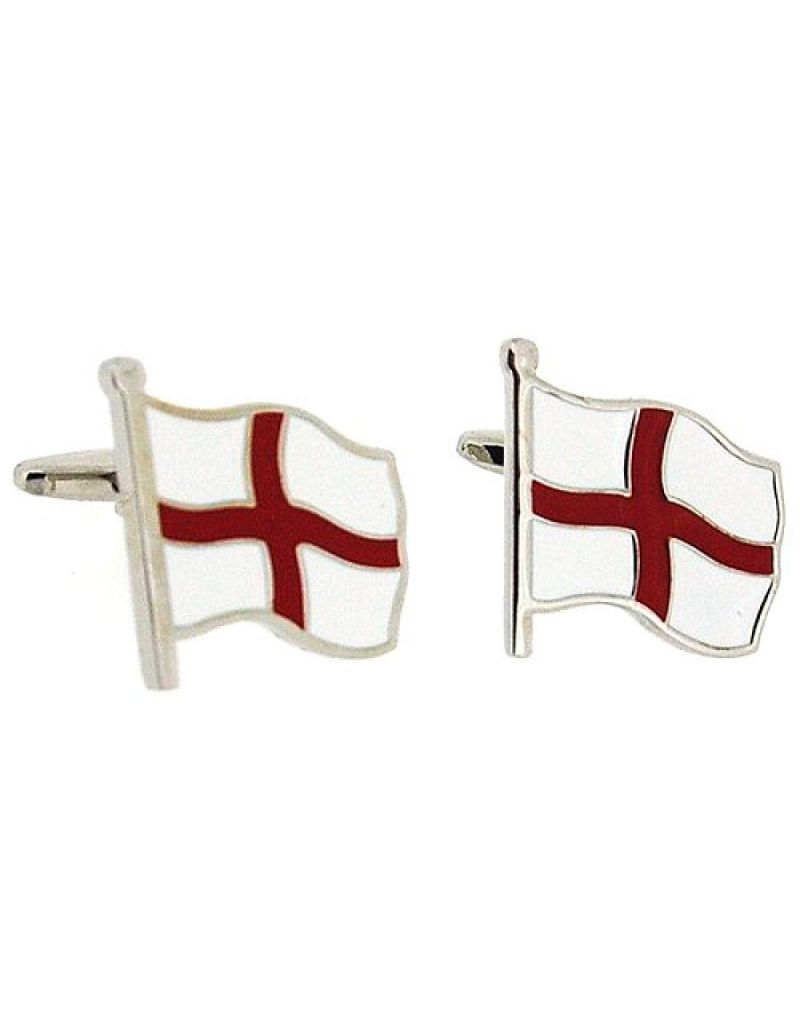"Artamis Rhodium Plated ""St Georges Flag"" Cufflinks In Presentation Box"