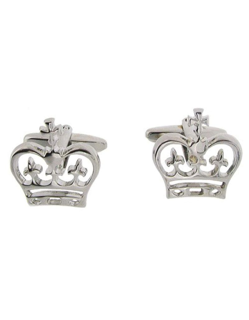 "Artamis Gents Rhodium Plated ""Crown"" Cufflinks In Presentation Box"