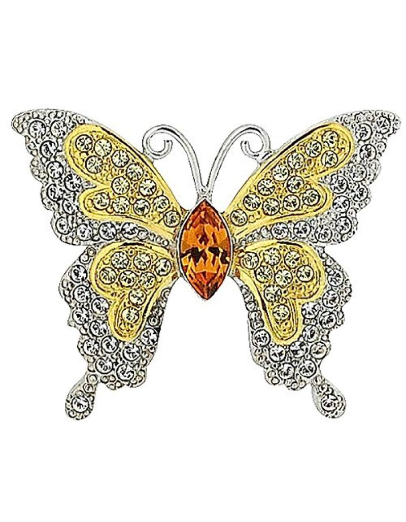 Butterfly Brooch Goldtone and Silvertone with Coloured Rhinestones