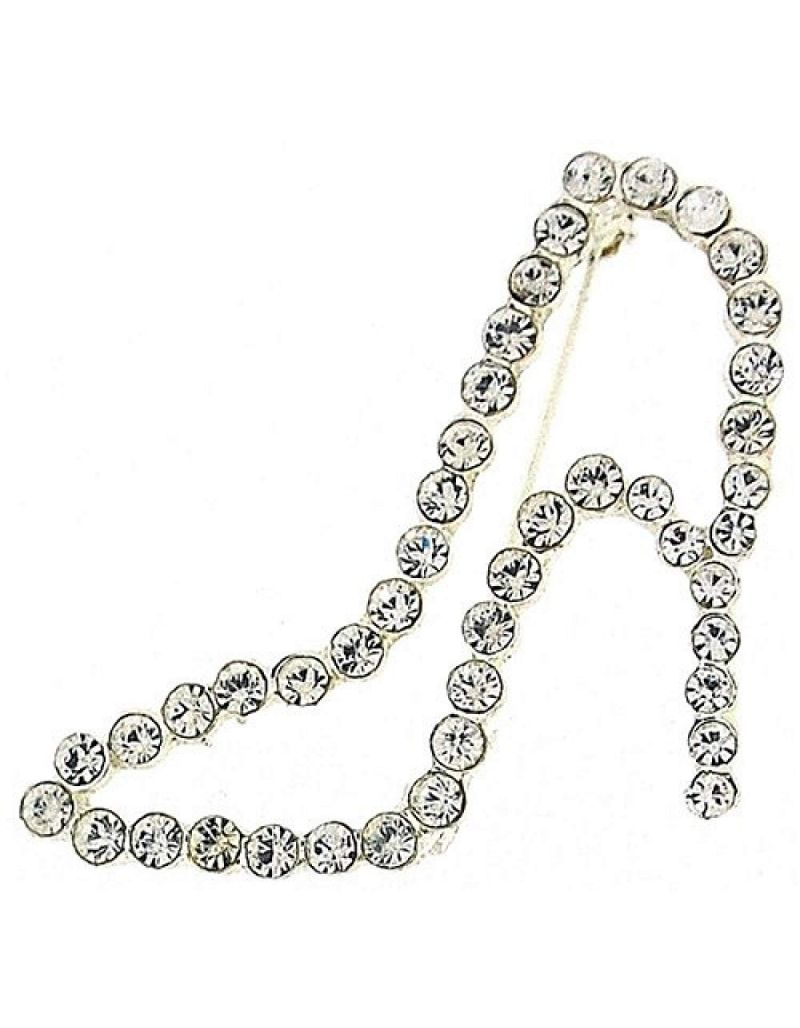 The Olivia Collection High Heel Clear Glass Set Brooch In Presentation Box BR115