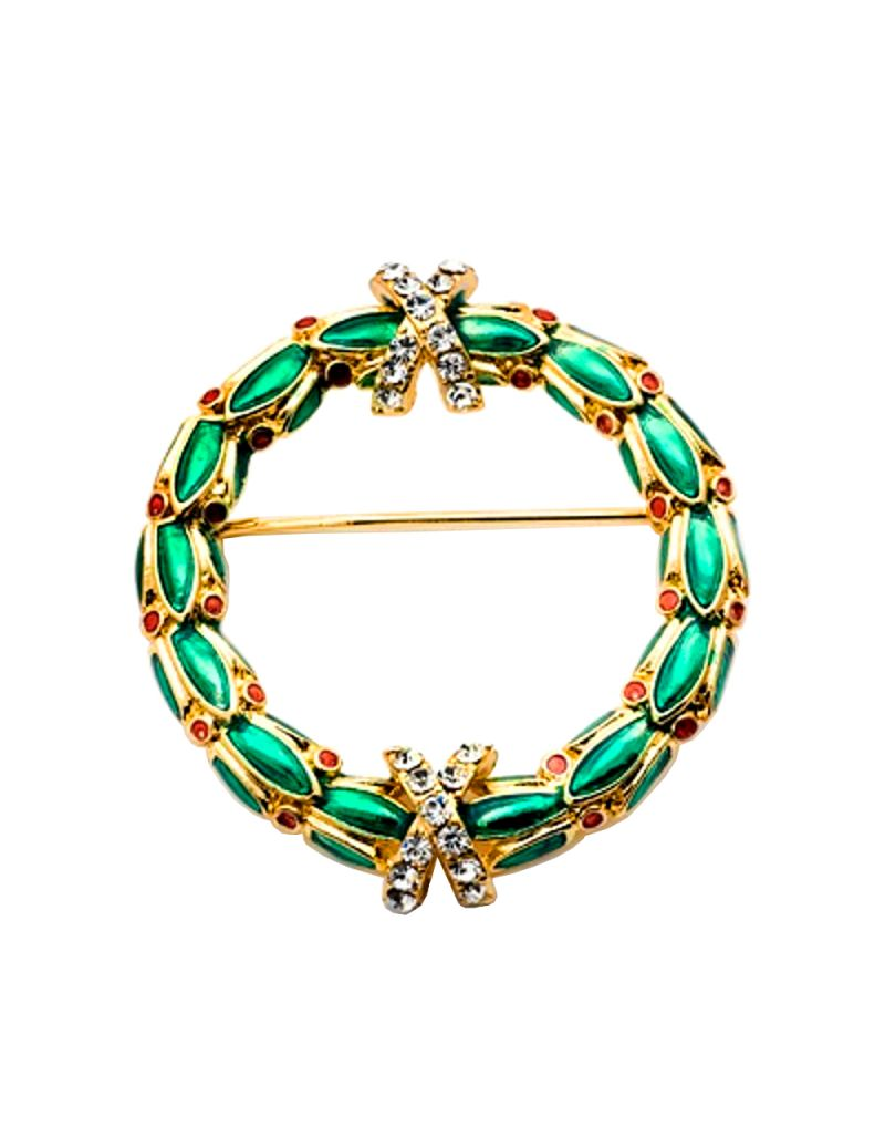 TOC Goldtone Green & Red Glass Set Christmas Wreath Brooch