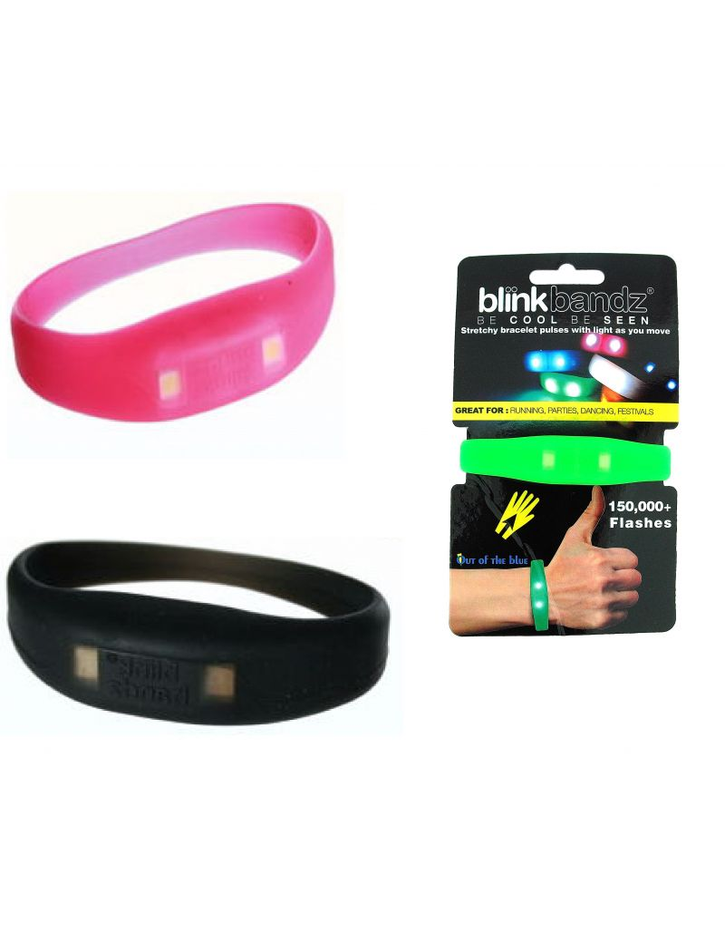 Blink Bandz Flashing Lights Pink & Black Pack of 2 Rubber Bracelets