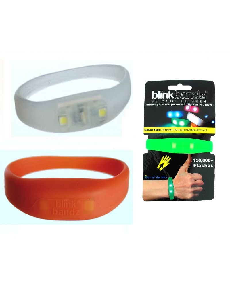 Blink Bandz Flashing Lights White & Orange Pack of 2 Rubber Bracelets