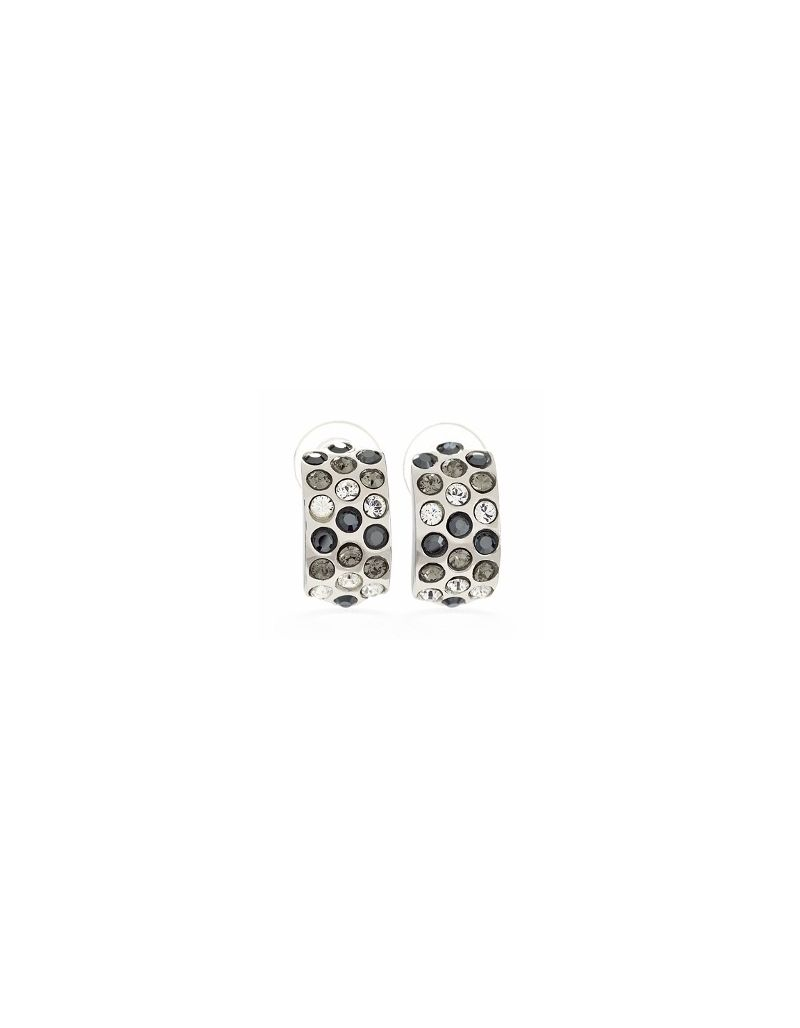 Jimmy Crystal Black And White Swarovski Elements On Silvertone Stud Earrings