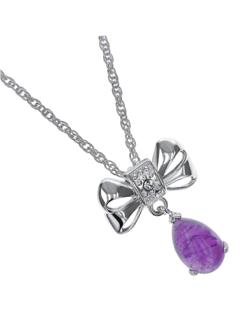 "Set of 10 The Olivia Collection Womens Silvertone Genuine Amethyst 3.96ct Drop Pendant 18"" Chain"