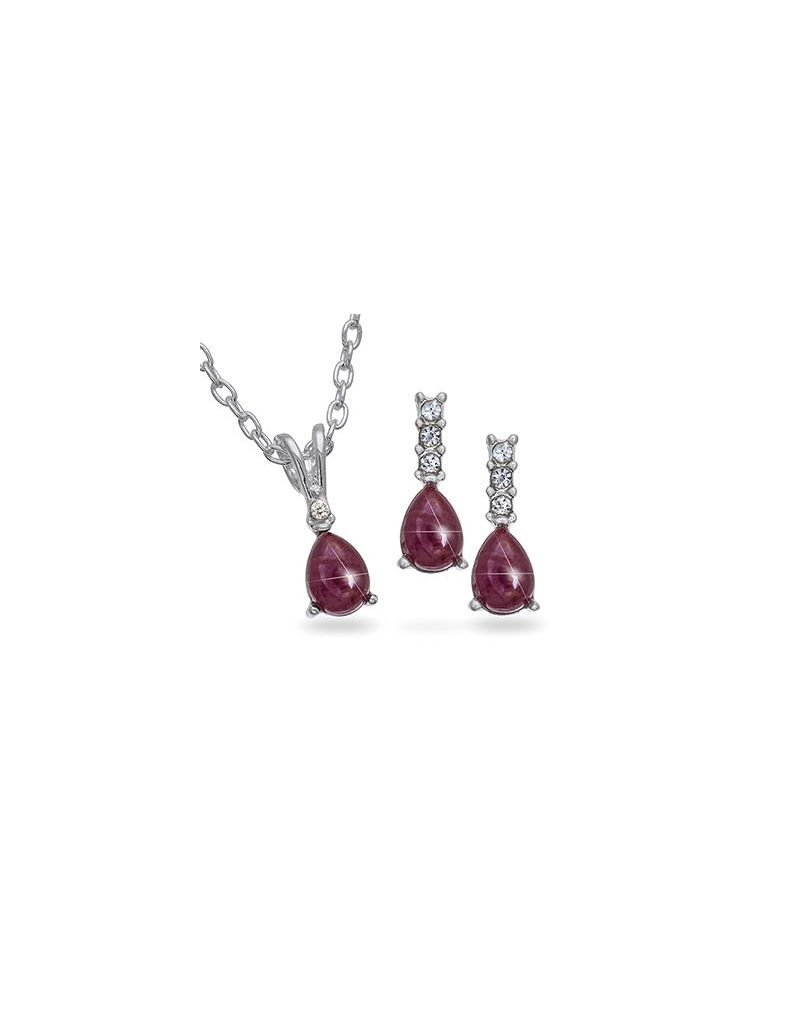 Set of 10 Genuine Ruby & Rhinestone Silvertone Pendant & Earrings - The Olivia Collection