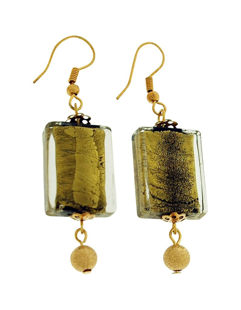 Cracked Goldtone Oblong Glass and Yellow Goldtone Stardust Ball Drop Earrings