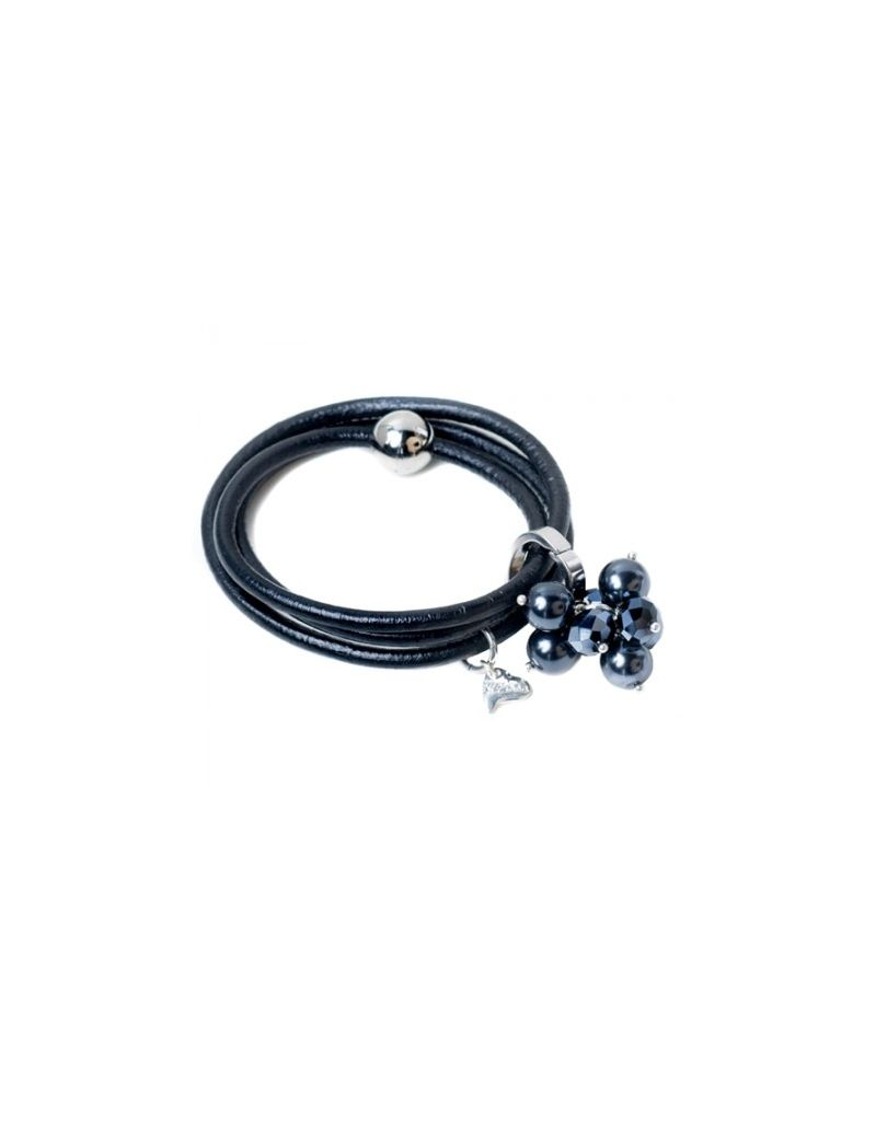 Kleshna Black Rhinestone & Simulated Pearl Charm Leather Adjustable Bracelet